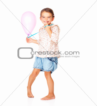 Little cute girl with an air balloon on white