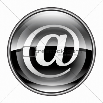 email symbol black, isolated on white background