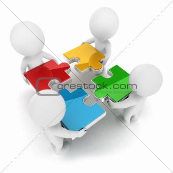 3d white people team assemble puzzle