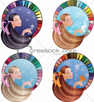 Young laughing women with long hair coloured by seasonal colors
