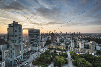 Modern buildings in Warsaw during sundown