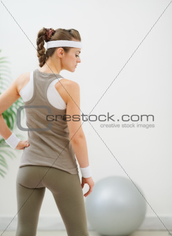 Portrait of healthy girl looking on copy space. Rear view