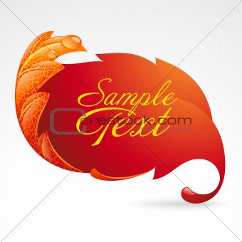Autumnal frame in the shape of fallen leaf