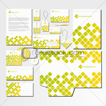 Vector stationery set with abstract pattern