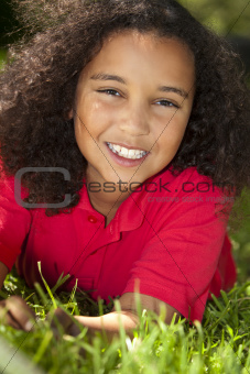 Beautiful Mixed Race African American Girl Smiling