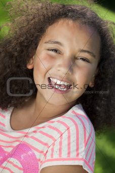 Portrait of Beautiful Mixed Race African American Girl