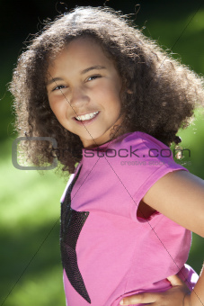 Portrait of Young Mixed Race African American Girl