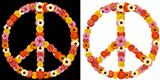 peace symbol made from flowers