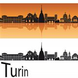 Turin skyline in orange background