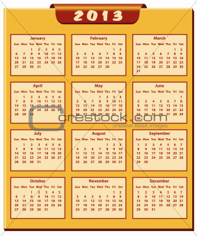 Calendar 2013 year