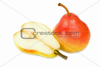 Rich pear and a half isolated on white background