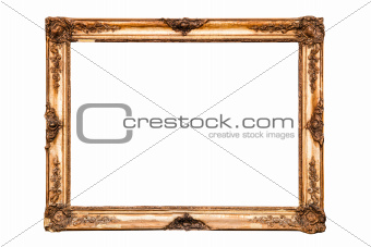 Old golden retro mirror frame, isolated on white