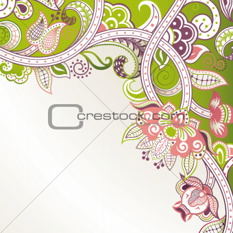 Abstract Green Floral Corner