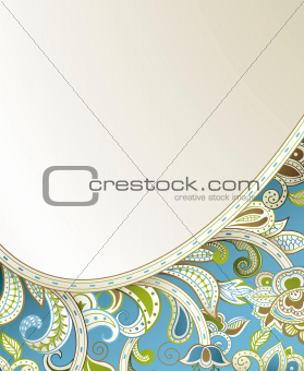 Abstract Blue Floral Curve