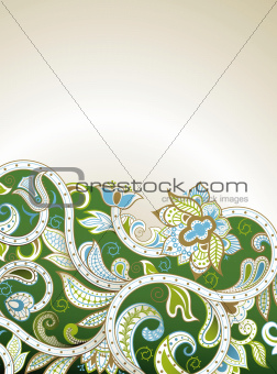 Abstract Green Floral Curve