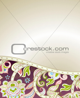 Abstract Purple Floral Curve