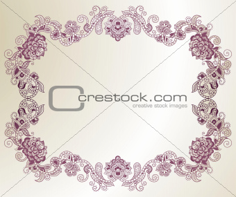 Abstract Purple Floral Frame
