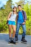 Teenage roller skaters
