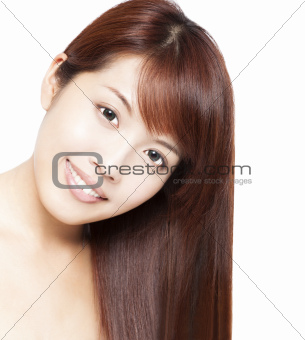 Close up portrait of beautiful asian woman's face and hair