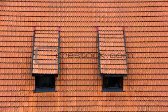 Tiled garret roof.