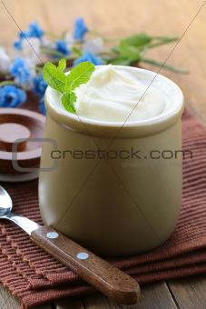 dairy product (sour cream, yogurt,) in ceramic jar