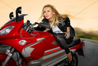 one blonde on a motorcycle