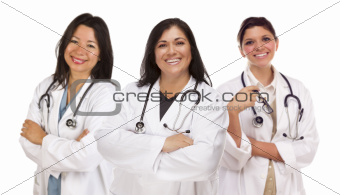 Three Hispanic Female Doctors or Nurses Isolated on a White Background.