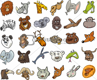 Cartoon wild animals heads huge set