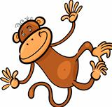 cartoon illustration of funny monkey