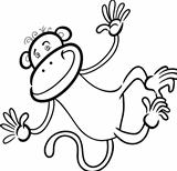 funny monkey for coloring book