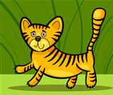 cartoon illustration of little tiger