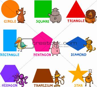 Basic Geometric Shapes with Cartoon Animals