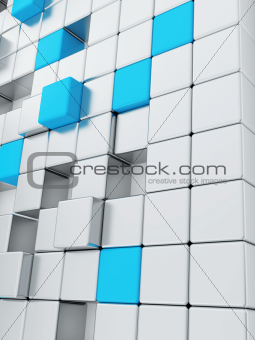 abstract smooth grey metallic cubes with a contrasting blue cube