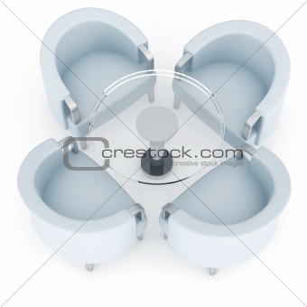 Four armchairs and round coffee table on a white background