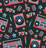 Retro music seamless pattern