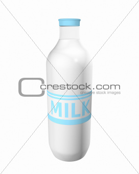 Milk bottle with label