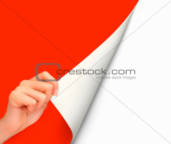 Blank sheet of paper with hand