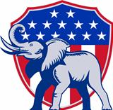 Republican Elephant Mascot USA Flag