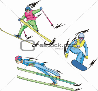Ski jumping, Freestyle skiing and Snowboarding