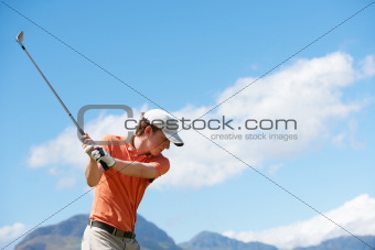 Taking charge of his golfing swing