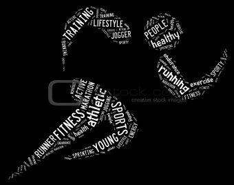 athletic running pictogram on black background white words