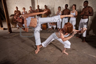 Capoeria Fighters Demonstrating Martial Arts