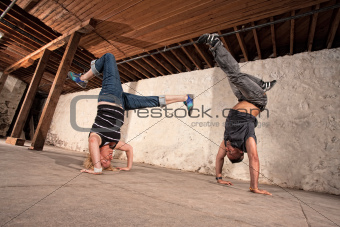 Capoeria Artists Perform Headstands