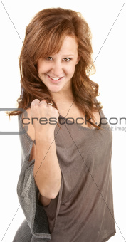 Happy Lady With Fist Up