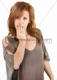 Sad Woman with Hand on Mouth