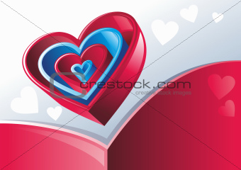 Red and blue hearts