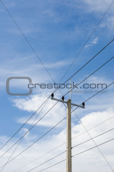 Electricity post and blue sky