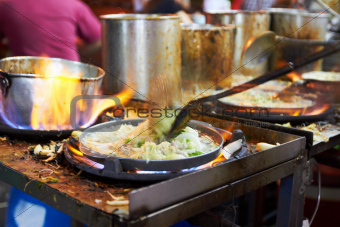 Food being prepared at a Thai restaurant