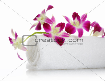 towel with orchid