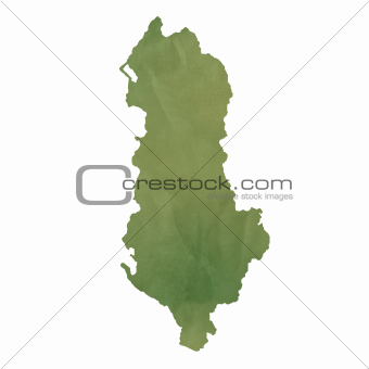 Albania map on green paper